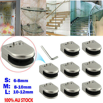 8X StainlessSteel Glass Bracket Flat Clip Clamp Shelves Handrail6-8/8-10/10-12mm