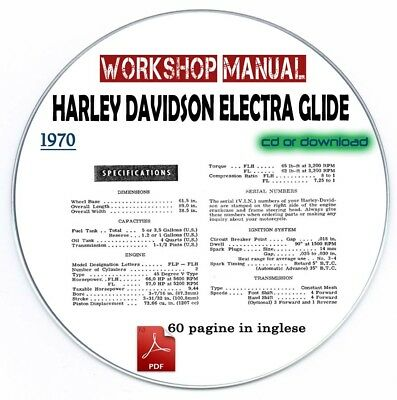 Manuale Officina Harley Davidson Electra Glide 1970 Workshop Manual Service