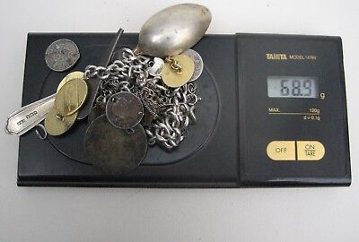 Mixed Lot Scrap Solid Silver Items, Mainly Sterling, Coins Worn Watch Chains etc