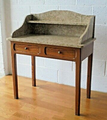 Lovely Antique Solid Pitch Pine French Marble Top Washstand 2 Drawer Desk