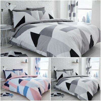 3D Triangles Black//Grey Luxurious Duvet Cover Sets Reversible Bedding Sets By GC