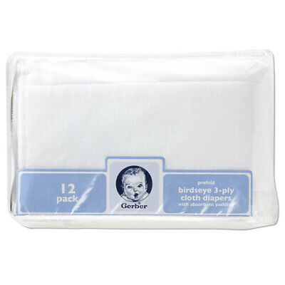 Gerber Birdseye 3-Ply Prefold Cloth Diapers, White, Pack of 12, New, Free Ship
