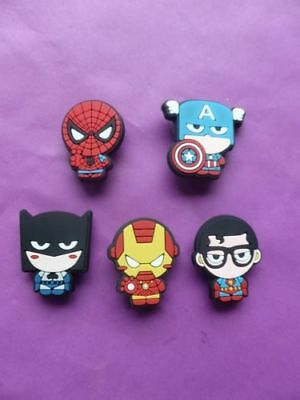 5 Spiderman Batman Captain America Cartoon jibbitz croc shoe charms cake toppers