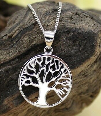 Ladies / Mens Solid 925 Sterling Silver Tree Of Life Necklace, 18 Inch, Celtic