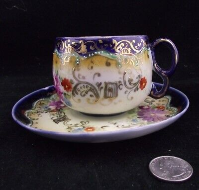 Royal Nippon Tea Cup And Saucer Gold Trims Deep Blue Rich Floral Pattern