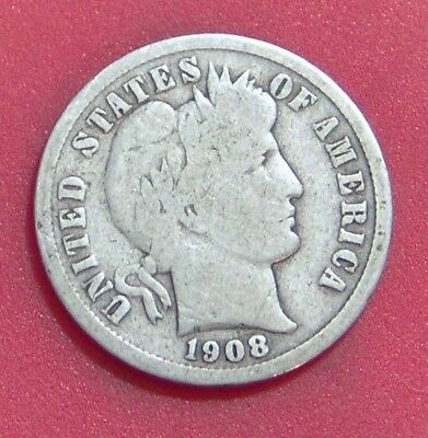 1908 S Barber Dime Silver Ten Cent **free Shipping ** B1735