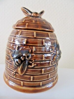 "Vintage Bee Hive / Skep Honey Pot Pottery 9cm 3.5"" high"