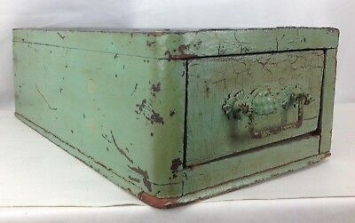 Antique Vtg Green Wood Drawer Primitive Country Rustic Storage Box Deco Handle