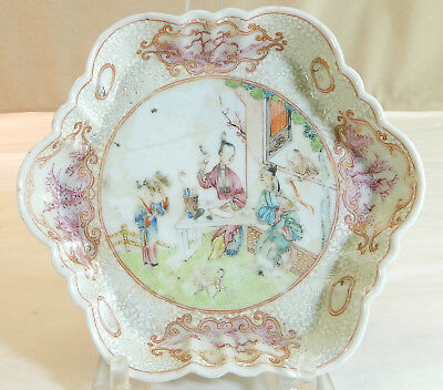 Chinese Export Porcelain Spoon Dish with Figural & Raised Decoration