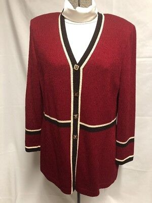 St. John Collection by Marie Gray Red Brown Knit Blazer Jacket 6 Women Buttons
