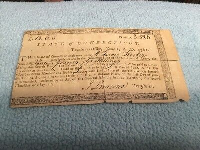 Connecticut Line Treasury Note Rarer Issue 1st June, 1782 No Cancellation Mark