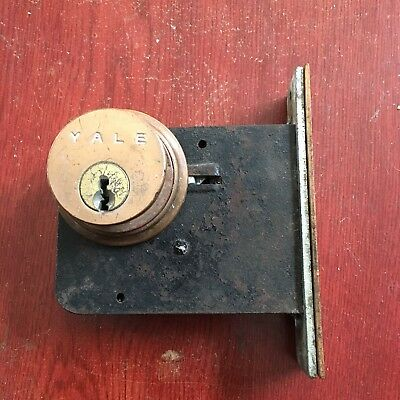 Antique Authentic Yale mortise door lock With Yale Cylinder used salvage