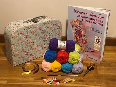 New Learn To Crochet Kit & Granny Sq Book Complete Starter Beginners 5 Box Style