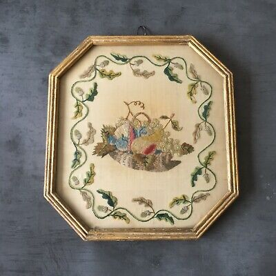 Antique Silkwork Needlework Picture Rare Still Life Fruits Gilt Frame Georgian