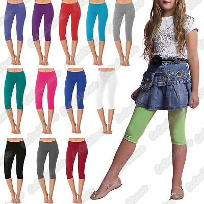 New Girls Kids Cotton Plain Gymnastics Dance Wear Crop Capri Pant 3/4 Leggings