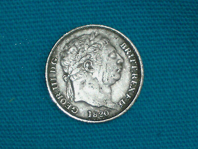 George 111 1820 Silver Bullhead Sixpence Milled Coin Metal Detecting Find