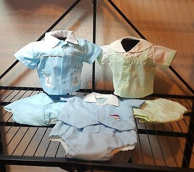 📌📌 3 SETS LOT VTG 70'S 0-3 Mo NB Baby boy Diaper sets Romper Portrait Suits