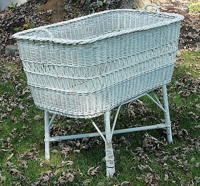 Large White Antique Wicker Bassinette