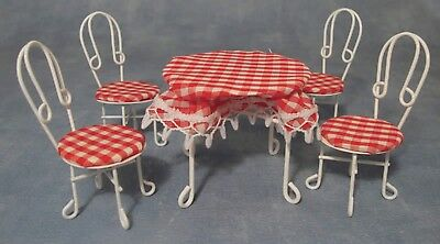 Dolls House Miniature 1/12th Scale White Table and 4 Chairs Bistro Set DF556