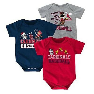 MLB Newborn & Infant Boy's 3-Pack Bodysuits - St. Louis Cardinal Peanuts Snoopy