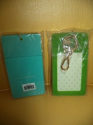 Nwt Kate Spade Why Hello There Green/turq Id Clip Holder