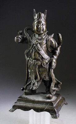 *SC* SUPERB CHINESE BRONZE GUARDIAN FIGURE, MING DYNASTY 16th/17th cent.!!