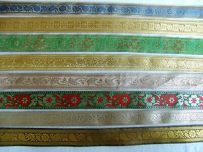 """BY THE YARD ~ Lustrous 1 1//2/"""" Metallic Jacquard Ribbon Trim ~ Choice of Colors"""