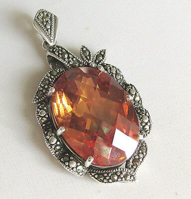 Art Deco style solid silver pendant with marcasite gemstone & large glass gem