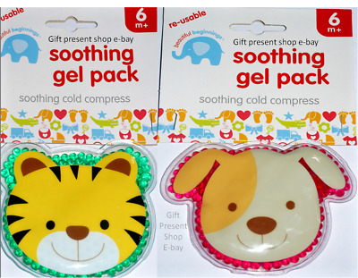 NEW Kids Toddlers Cooling Gel Cold Compress Soothing ice Pack Dog CAT TIGER BABY