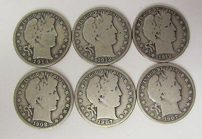 Lot of 6 - Various Date & Mint Barber 90% Silver HALF Dollars G - VG C1402