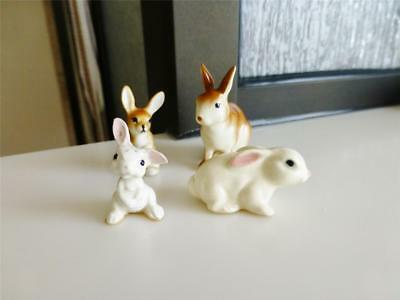 Vintage Lot of Four Miniature Bunny Rabbits Hagen Renaker Bone China Porcelain
