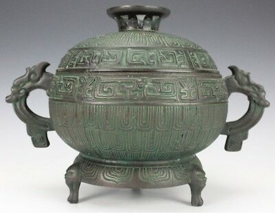 Chinese Export Bronzed Green Patinated Dragon Handle Covered Serving Footed Bowl