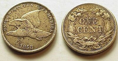 1858 Flying Eagle Cent- Xf/au Details! Small Letters - No Reserve!