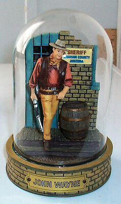 JOHN WAYNE Franklin Mint Hand Painted Sculpture w/ GLASS DOME County Sheriff!!