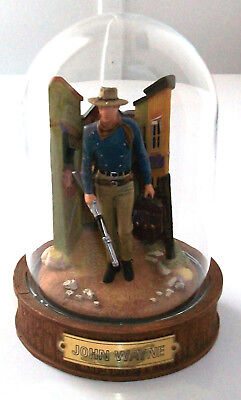 JOHN WAYNE Franklin Mint Hand Painted Sculpture w/ GLASS DOME Palace Hotel!
