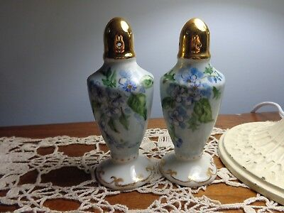 Hand Painted Blue Floral Salt & Pepper Shakers Vintage with Gold Tops