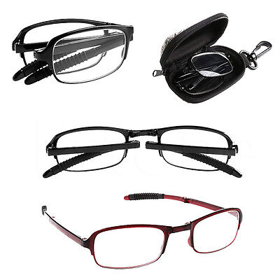 KQ_ Foldable Reading Glasses +1 +1.5 +2 +2.5 +3 +3.5 +4.0 with Storage Case Eage
