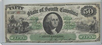 1873 State of South Carolina $50 Certificate of Indebtedness, S/N 64
