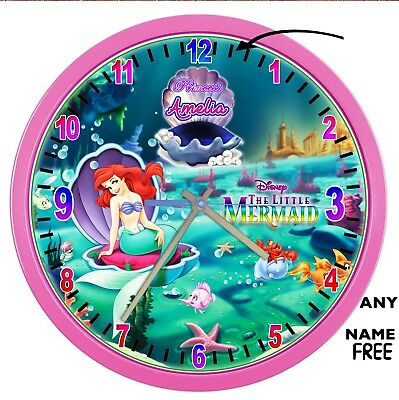 The Little-Mermaid Princess Ariel PINK large 27.5 CM wall clock ADD a Name FREE