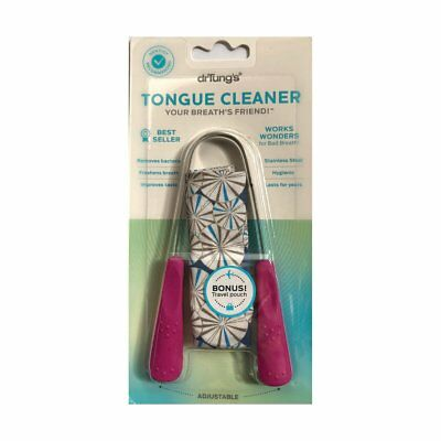 Dr Tung's Tungs Stainless Steel Tongue Scraper Cleaner Pouch Dental Oral PINK