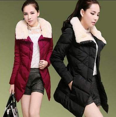 2016 Winter Women Warm Fur Collar Down Jackets Slim Fit  Mid Long Coat Plus SZ