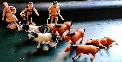 Vintage 1950's lot of 9 Plastic Miniature Farm Animals and Farmers Plastic Toys
