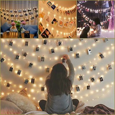 10/20 LED Wedding Photo Peg Clip Fairy String Light Hanging Picture Party Decor