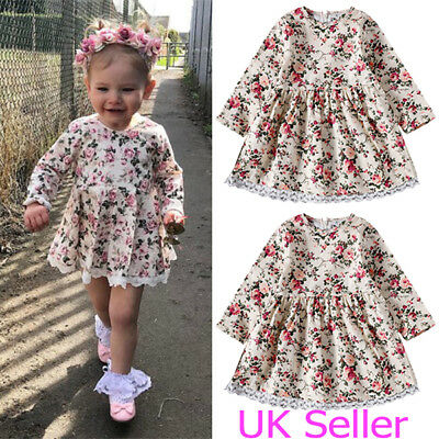 Kids Toddler Baby Flower Girls Long Sleeve Dress Princess Party Dresses Clothes