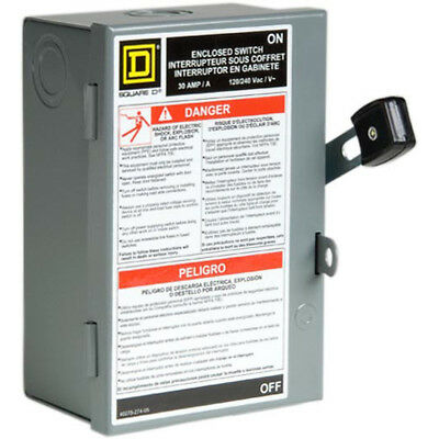 Square D 30-Amp 240 Vac Fusible Metallic Disconnect Protection Arcing Switching