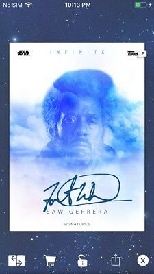 Topps Star Wars Digital Card Trader Blue Infinite Signature Saw Gerrera Insert