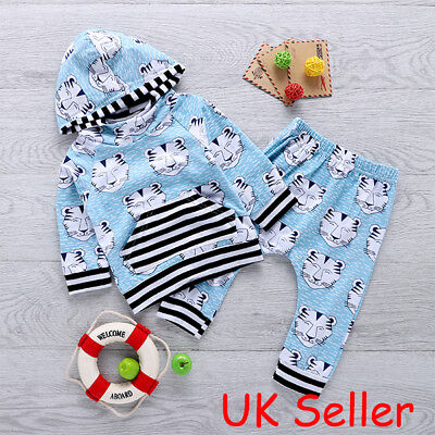 Cute Newborn Baby Boys Tiger Clothes Hooded T-shirt Tops Long Pants Outfits Set