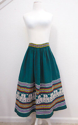 Vintage Guatemalan Mexican Novelty 1940s 50s Embroidered Cat Kitty Tourist Skirt