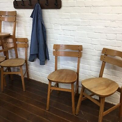 Industrial Vintage Wooden Cafe Restaurant Bistro Mullca School Kitchen Chairs