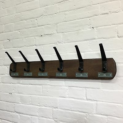 Industrial Vintage Antique Reclaimed School Metal Number Coat Hooks Pegs